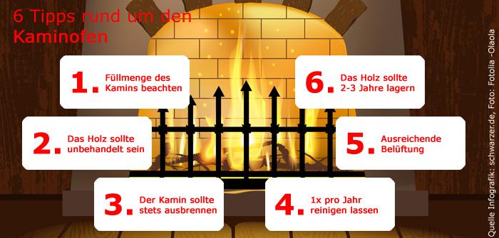 Infografik: 6 wichtige Tipps für heimeliges Kaminfeuer im Kaminofen