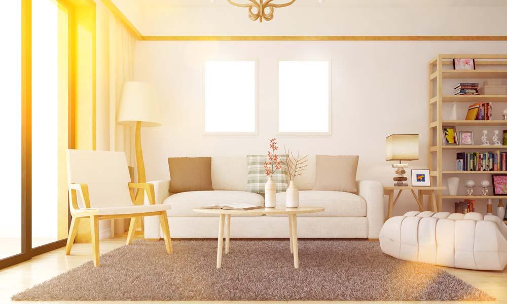 3. Einrichtungstipp fürs Wohnzimmer: kombinieren Sie die Farbe Weiß mit Holz: Sie schaffen freundliche, helle Farben für Ihr Wohnzimmer