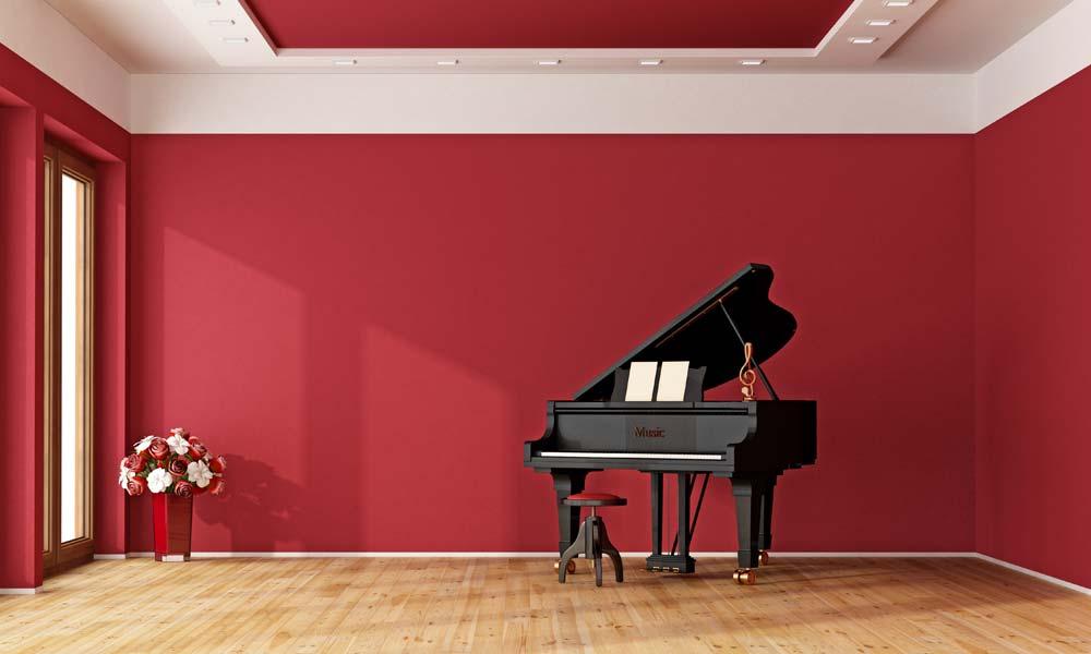 4. Einrichtungstipp fürs Wohnzimmer: kraftvolles Rot für das Musikzimmer
