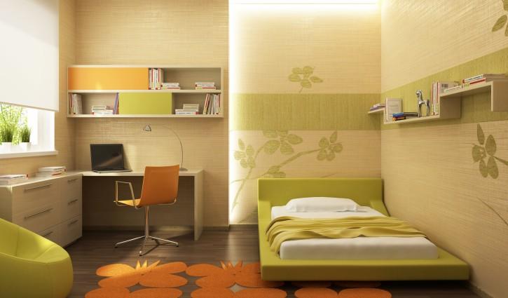 10. Dämpfende Textiltapete in Orange und Grün für das Arbeitszimmer