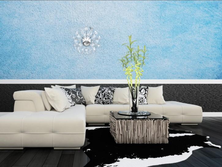 2. Tipp: Blaue Tapete in Batik-Optik als Blickfang für das Wohnzimmer