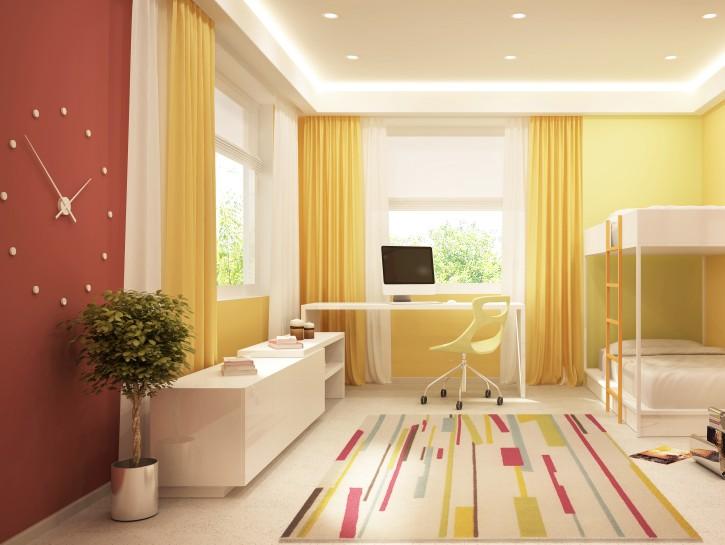 4. Tipp: Gelbe und rote Tapeten im lichtdurchfluteten Kinderzimmer