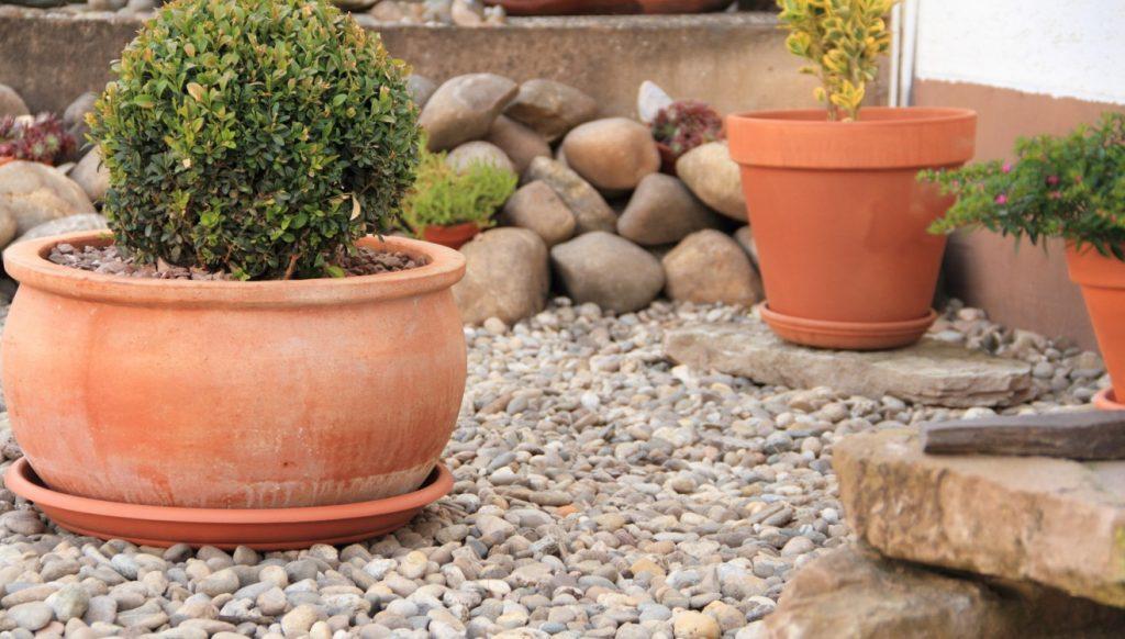 1. Steingarten mit Kies und gräßeren Steinen als komplette Außenanlage gestalten