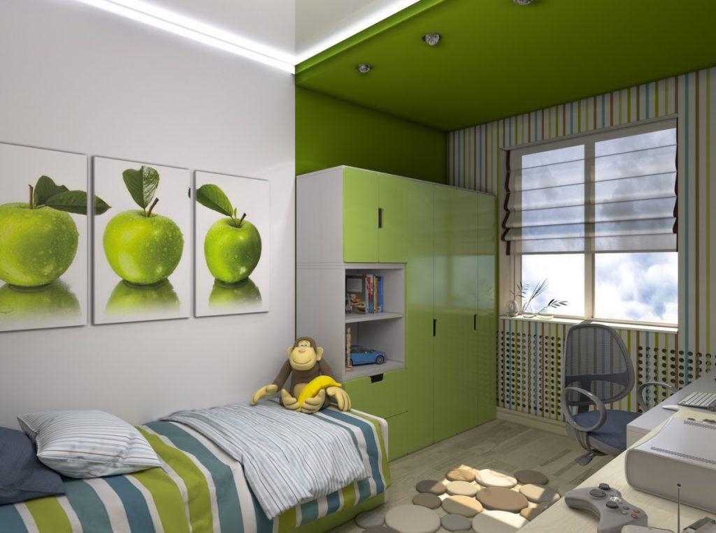 2. Idee für die Wandgestaltung im Kinderzimmer: Grün und modern – für Jungs jeden Alters