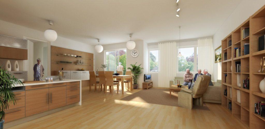 02b Lichtdurchfluteter Livingroom, offene Küche im Traumhaus