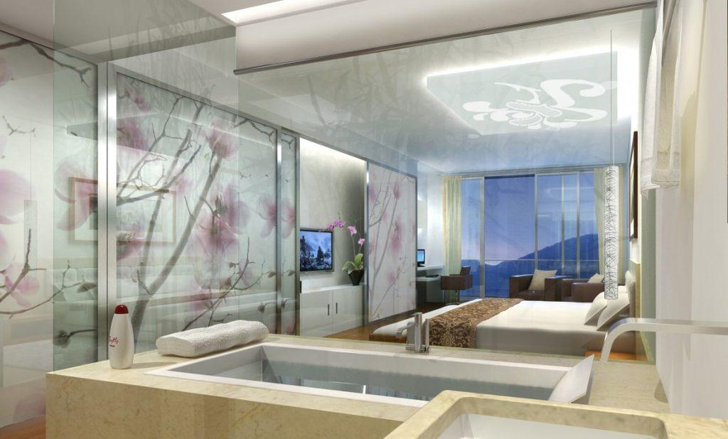 03b. Schlafzimmer und Marmorbad, japanische Kirschblüten auf weißen Schiebewänden