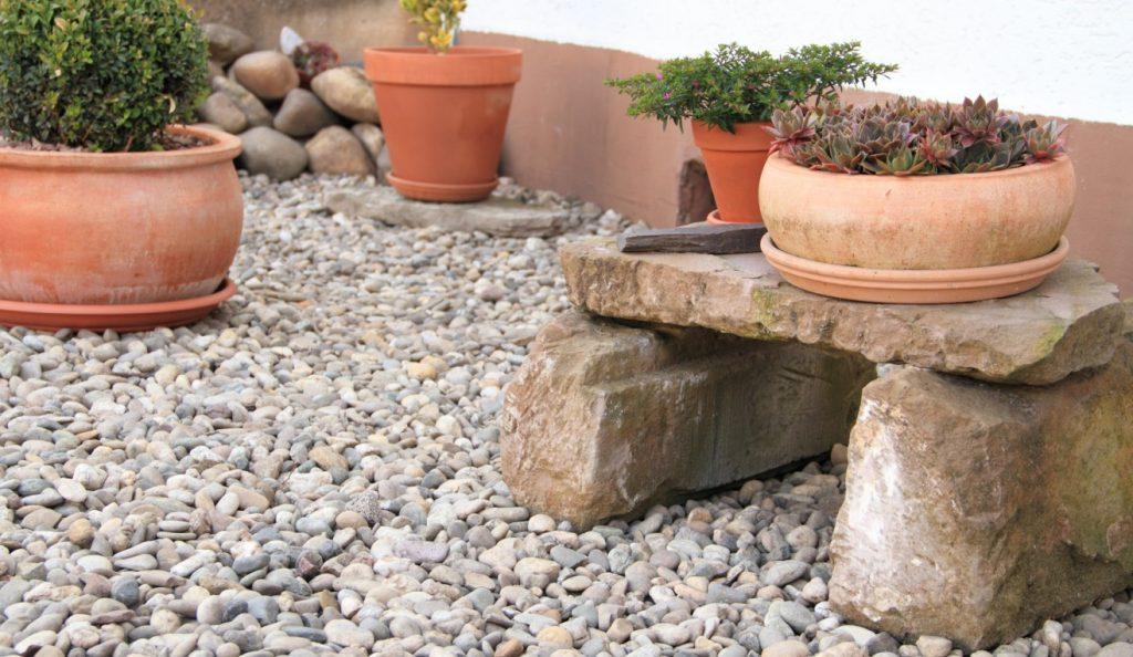 4. Steingarten mit Kübelpflanzen und Steinbank für Katze und Mensch