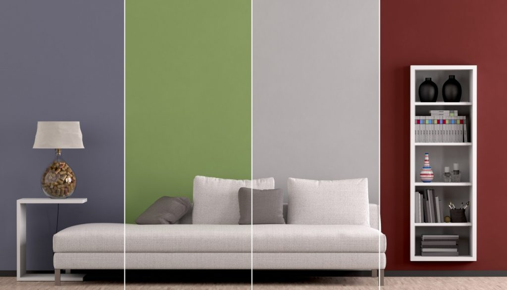 5. Idee: Vierfarbig gestreifte Wand