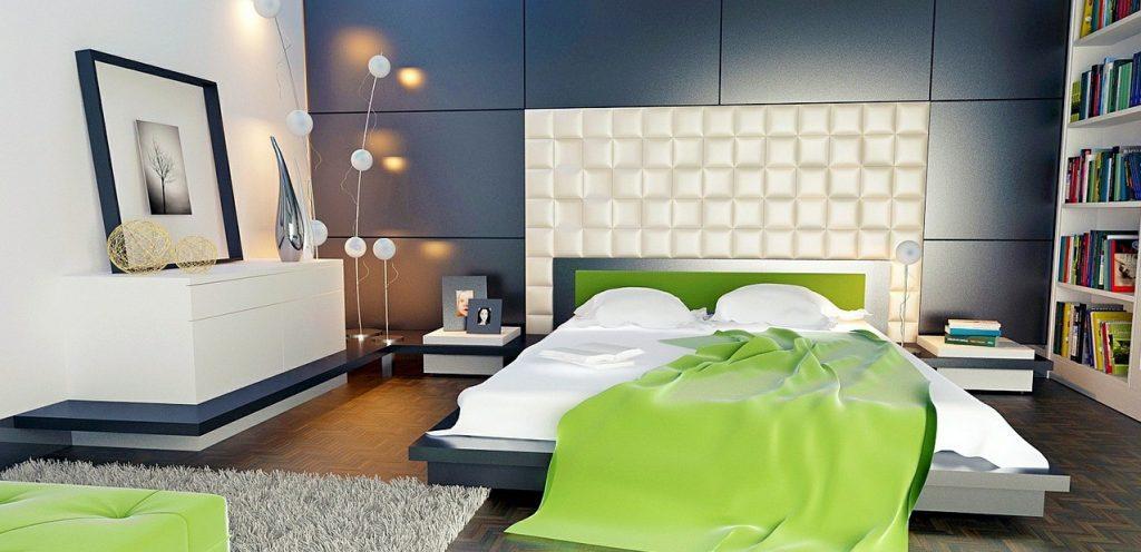 2. Idee zur Wandgestaltung: Große Wandpaneelen und weißes Polster