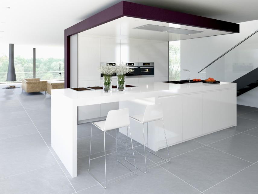 Die Must-Have-Singleküche ist eine weiße Hochglanz-Küche.