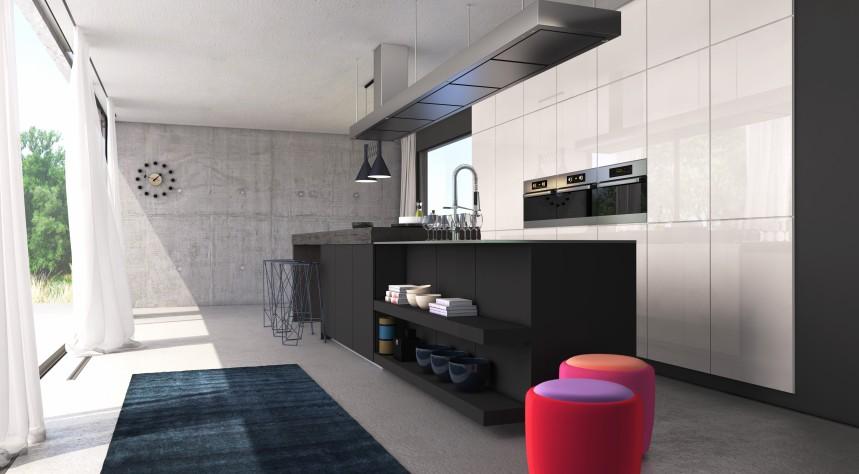 Diese Singleküche besticht durch das Spannungsfeld zwischen dem  Schwarz des Tresens, den weissen Hochglanz-Einbauschränken, dem  ungezähmt rauhen Estrich und den Elementen aus Edelstahl.