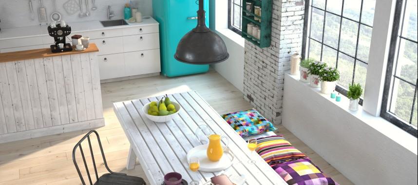 Die nordische Küche mit den typischen weißen Holz-Bohlen und weißen Küchenmöbeln bringt Gemütlichkeit in die Single-Wohnung. Aber Vorsicht: der türkisfarbene Retro-Kühlschrank gibt der Singleküche einen frischen Touch, der wach macht.