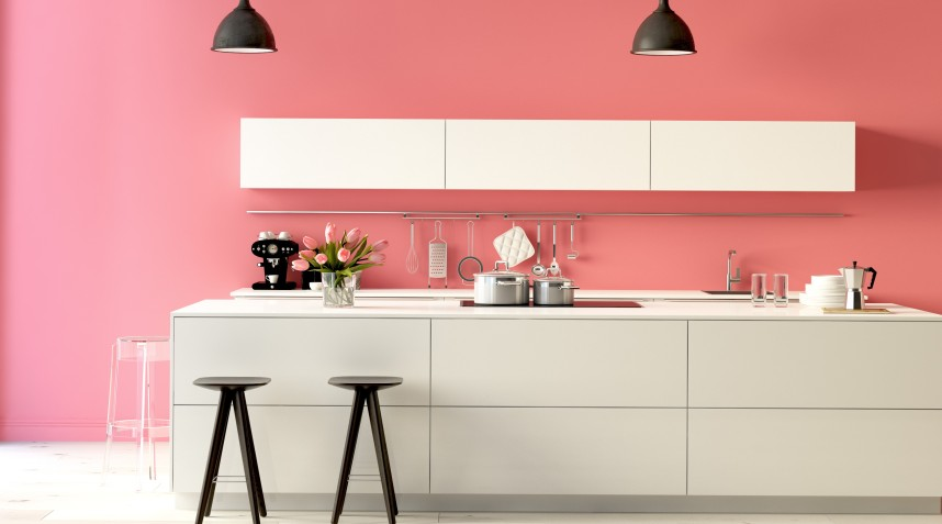 """Klare Farben mit starken Kontrasten kennzeichnen diese Singleküche. Während oftmals Farbharmonien erwünscht sind, besteht diese Küche auf klaren Flächen mit vielfach strengen Farbtönen: Pink, Weiß, Schwarz. Keine weiteren Akzentfarben. """"Du sollst keine anderen Götter neben mir haben!"""""""