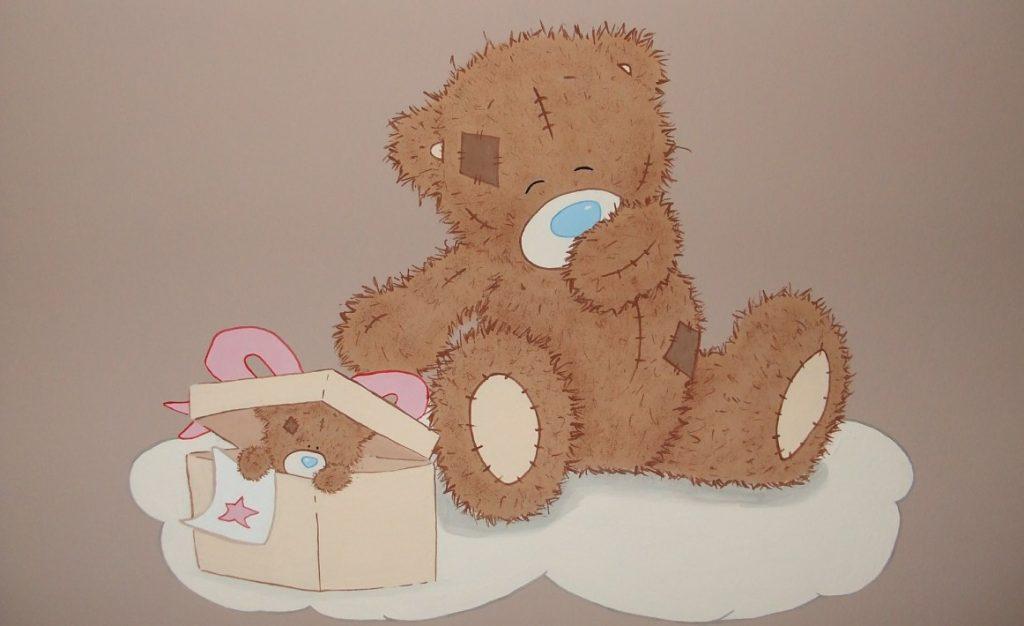 33. Wandmalerei mit Teddybär fürs Babyzimmer
