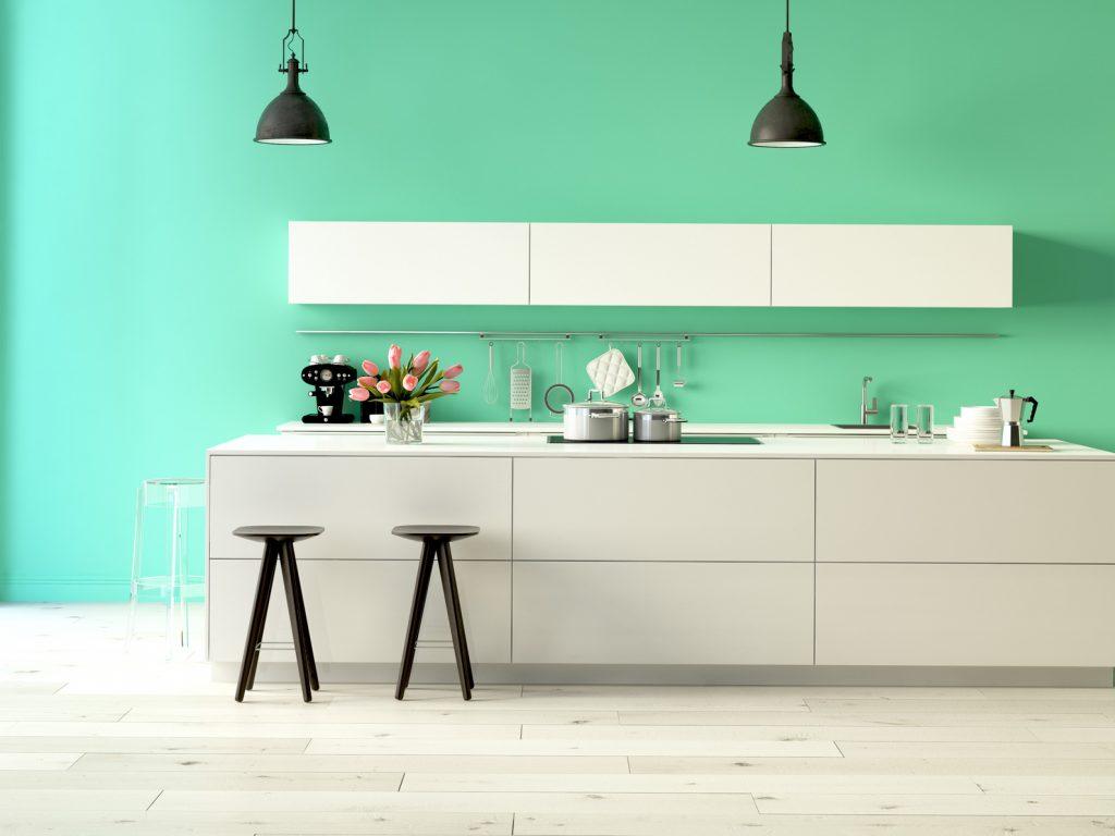 Beim zweiten Beispiel sieht man den Unterschied: gleiche Küche mit unterschiedlicher Wandfarbe - und schon ist es ein ganz anderes Wohngefühl. (#02)