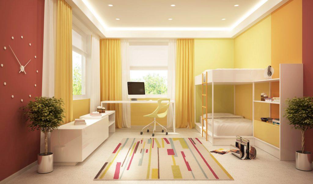 Moderne Gardinen fürs Wohnzimmer: Gelb ist eine Farbe, die gute Laune verbreitet, ebenso wie Weiß den Raum öffnet und dennoch etwas Besonderes ist. (#02)