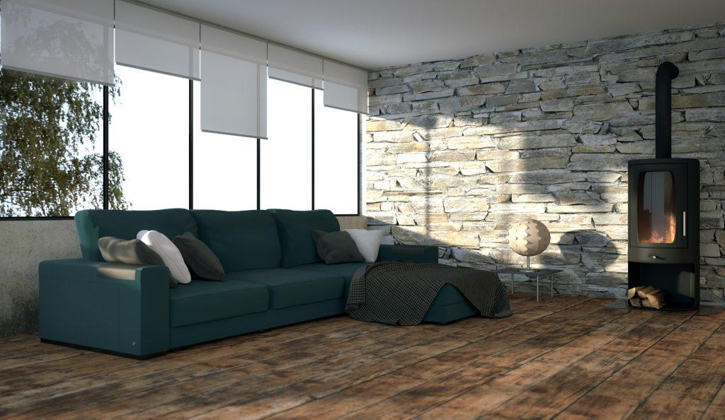 Jolousien im Wohnzimmer: Die Jalousien sind aus dünnem Stoff gefertigt und schmal gehalten. (#04)