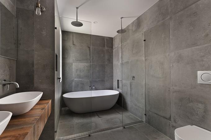 Wer sich für ein modernes Badezimmer begeistern kann und dieses gern mit dem Partner nutzen möchte, wird von diesem Bild begeistert sein. (#03)