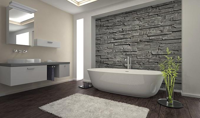 Häufig sind derzeit Bilder von Wohnräumen zu sehen, in denen auf die Steinoptik auf der einen Seite, auf der anderen Seite auf Weiß und Grau als vorherrschende Farben gesetzt wird. (#01)