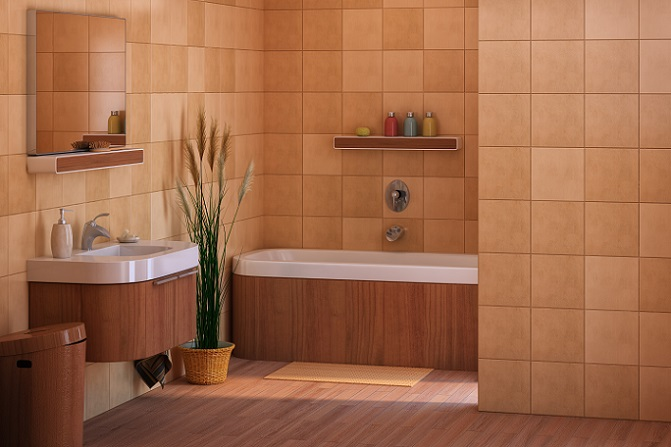 Dieses Bad auf dem Bild besticht durch sein mediterranes Flair. Die Farbgebung in Weiß und einem hellen Terrakotta-Ton wirkt gemütlich, das Schilfgras im großen Topf bewirkt einen angenehmen und warm wirkenden Kontrast zu den übrigen Farben. (#02)