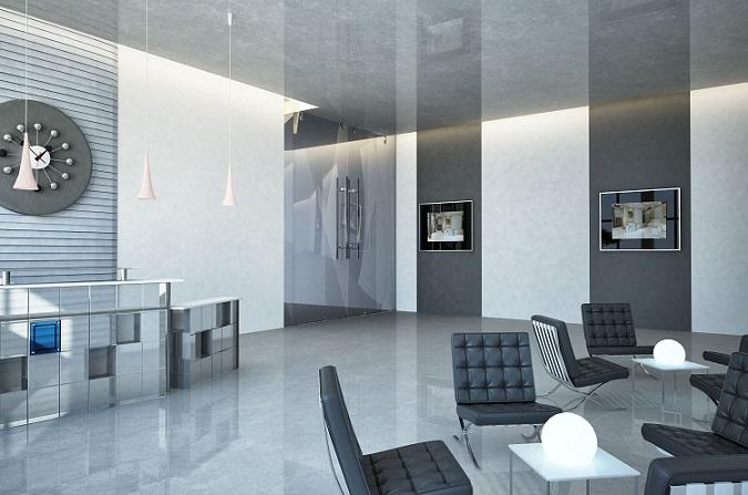 Gerade im Eingangsbereich eines Büros spielt ein ausgewogenes und gut durchdachtes Lichtkonzept eine wichtige Rolle. Daher arbeiten Inneneinrichter gerne mit lichtdurchlässigen Materialien und indirekten Lichtquellen. (#17)