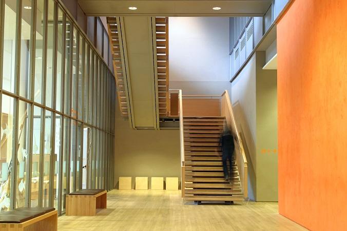 Die Wand in einem Treppenaufgang mit großzügiger Breite lässt viele Möglichkeiten zur Gestaltung offen. Eine davon ist ein natürliches Design. (#18)