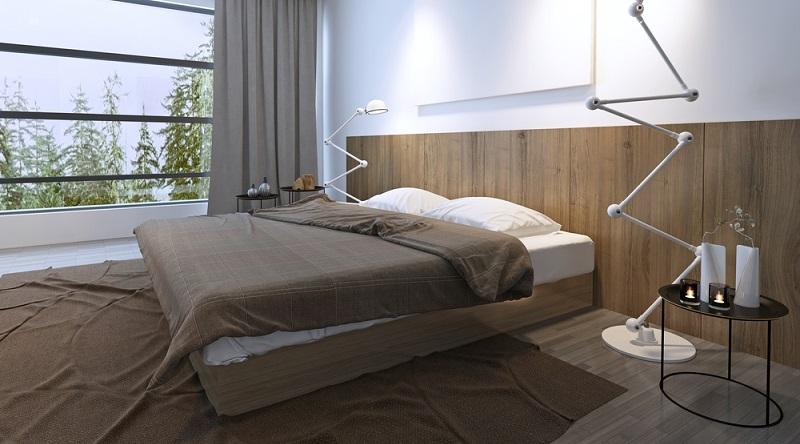 Holzpaneele, die sich nicht über die ganze Wand nach oben ziehen, sondern nur etwas über der Betthöhe enden, können einen besondern Look im Schlafzimmer zaubern. (#08)