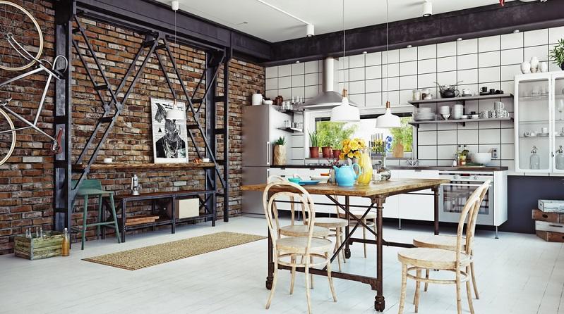 Eine verklinkerte Wand oder ein frischer Anstrich für die ganze Küche tut oft schon Wunder - egal, ob in Weiß oder einem abgetönten Farbton in Creme, Pfirsich oder Vanille. (#03)