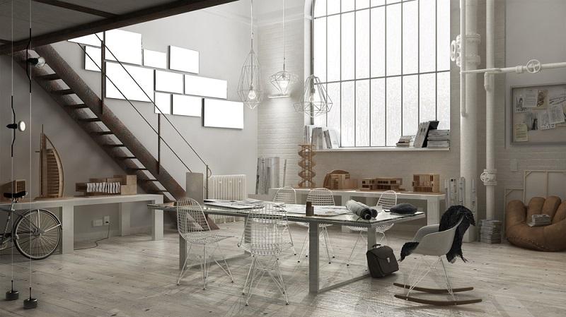 ration der Wohnung im Industrial Design gilt, dass weniger mehr ist. Die verwendeten Materialien beschränken sich auf Glas, Holz und Metall. (#04)