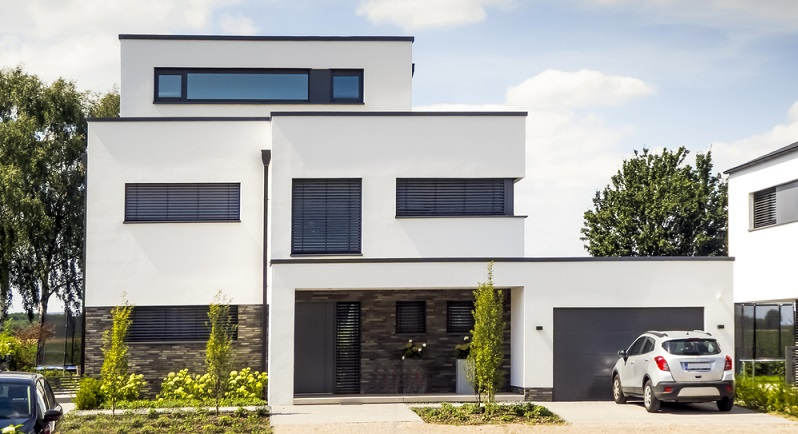 Das Kubushaus zeichnet sich durch das Flachdach aus, durch die beiden Geschosse und die Ähnlichkeit mit einem Würfel. (#04)