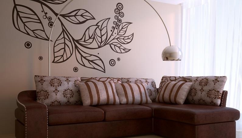 Die Wohnungsdekoration hat viel zu bieten, vom Grafikdesign über Fotowände bis hin zu Ornamenten, die auf dem Wandvorhang oder einem Wandtattoo auftauchen. (#01)