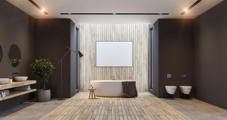 Oberflächen aus Kunstharz oder wasserfeste Tapeten stellen interessante Alternativen zur Wandverkleidung mit Fliesen dar. Das gibt die Möglichkeit, ein fugenloses Design zu entwerfen, das ausgesprochen modern wirkt. (#04)