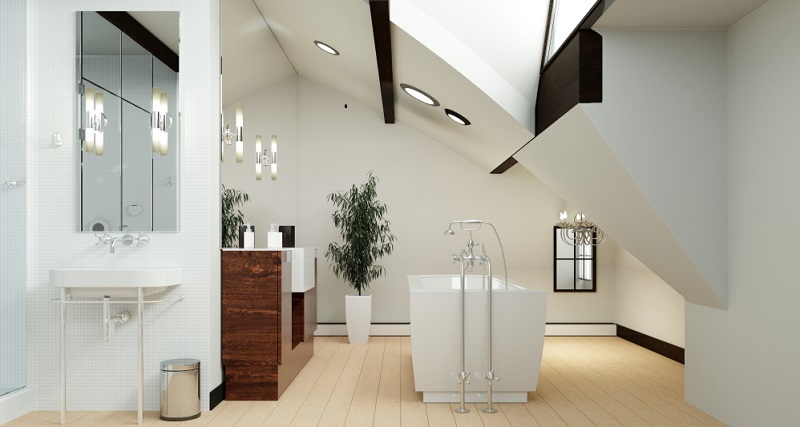 Grundsätzlich gibt es im Bad drei Stellen, die besonders oft genutzt werden und wo man sich deshalb auf keinen Fall den Kopf an der Dachschräge stoßen möchte: Dusche, Waschbecken und Toilette.