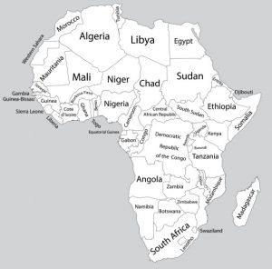 """Infografik zum Affenbrotbaum: Auf dieser Karte Afrikas sind die Staaten des Verbreitungsgebiets des Affenbrotbaums, des """"Baobab"""" sichtbar. (#1)"""