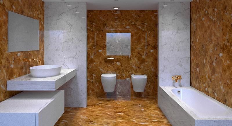 Wie bereits aufgelistet, gibt es weitere Materialien, die sich für die Wandverkleidung und/oder als Bodenbelag im Gästebad ebenso eignen wie im Hauptbadezimmer des Hauses.