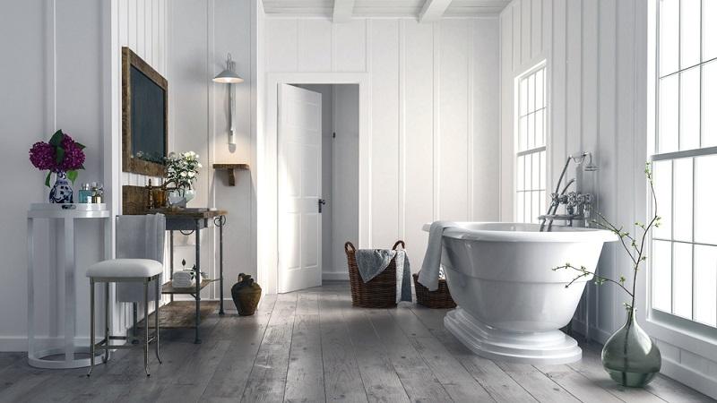 Gern werden auch Holzlaminate oder imprägnierte Dielen als Alternativen für die herkömmlichen Fliesenspiegel verwendet oder es kommt zur Kombination von verschiedenen Wandgestaltungen, wie hier auf dem Bild zu sehen ist: