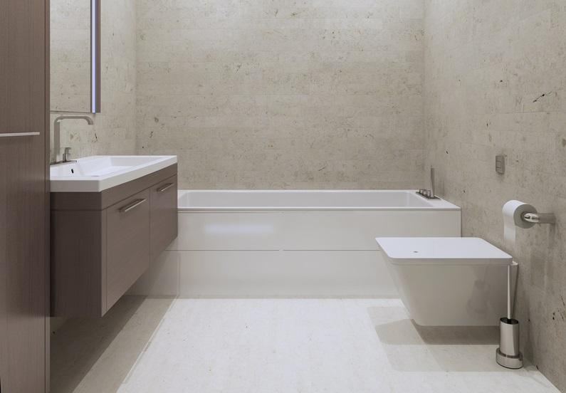 Putz an den Wänden eignet sich vor allem für den Industriallook, der neuerdings auch in den Badezimmern Einzug hält.