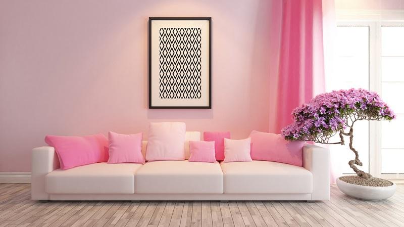 Rosé lässt sich ganz herrlich mit anderen Farben kombinieren und lässt gemütliche Räume entstehen.