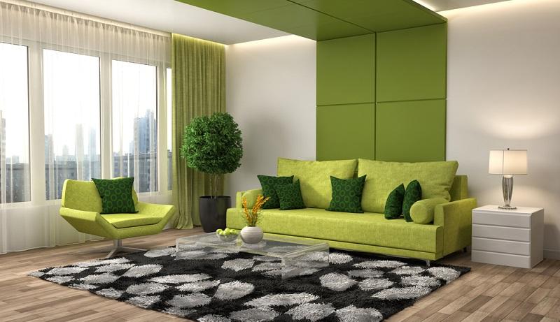 Grün soll Hoffnung geben, steht für Glück und Optimismus. Warum sollte Grün daher nicht ins gemütliche Wohnzimmer passen?