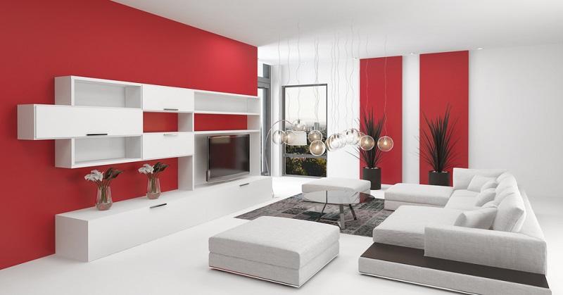 Rot gilt als aufregend und reizend, eine solche Reizfarbe scheint im Wohnzimmer eher nicht gut geeignet zu sein. Doch weit gefehlt, zumindest, wenn der Bewohner des Zimmers eher aktiv ist.