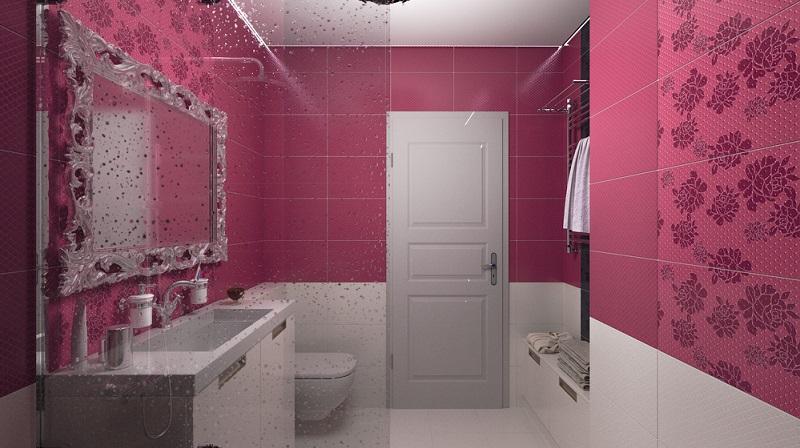 In diesem Badezimmer spielen, zumindest optisch, die Wände die Hauptrolle, denn die oberen zwei Drittel sind mit großformatigen, pinken Fliesen dekoriert.