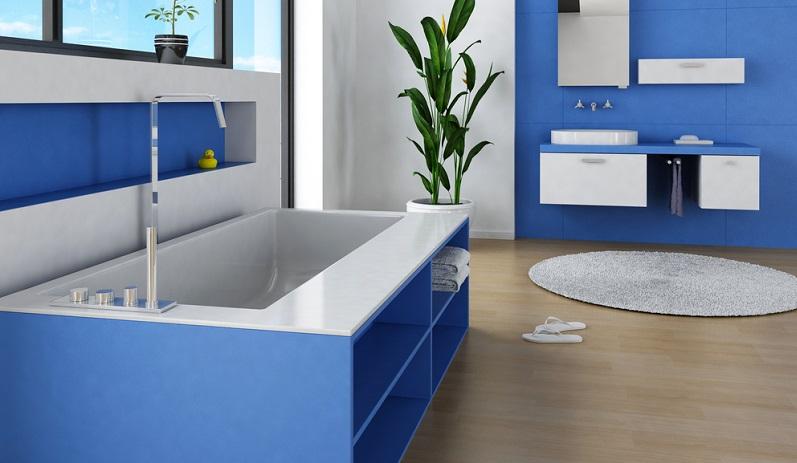 Die Farbe Blau wirkt frisch und vitalisierend und ist somit hervorragend geeignet, um schöne Bäder zu gestalten.