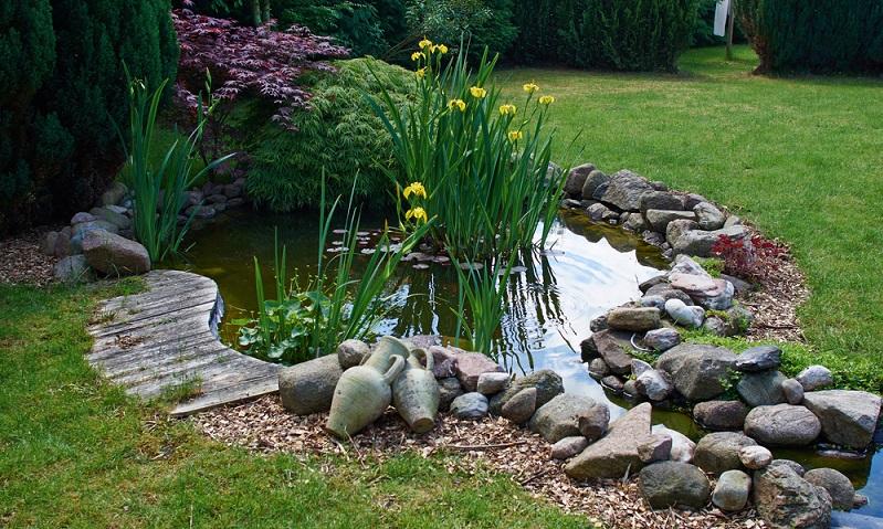 Befreien</strong> Sie den Gartenteich <strong>von überflüssigem Schlamm</strong> sowie von <strong>alten Pflanzenteilen</strong>, die sich im Winter hier gesammelt haben. (Foto: Shutterstock- Ron Zmiri)
