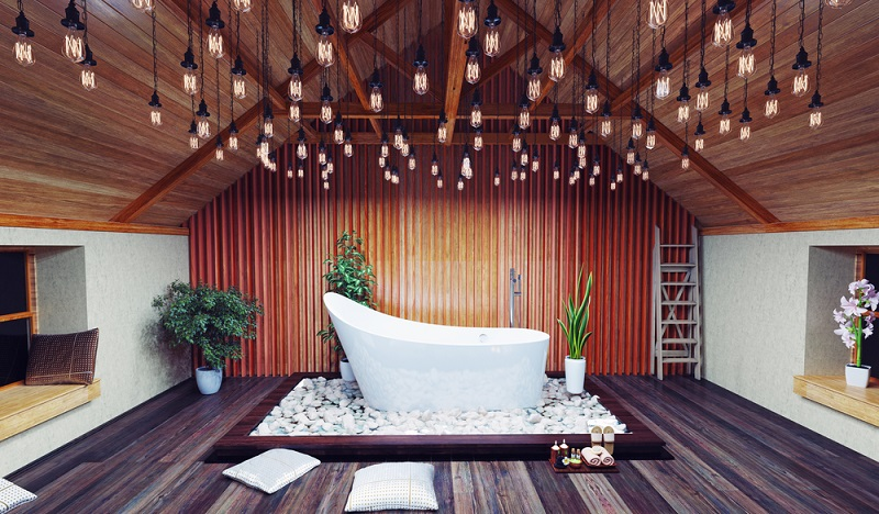 Gerade im Bad offenbart sich ein Luxushaus, denn hier sind es nur wenige Möbel, die den gediegenen Eindruck unterstützen können. ( Foto: Shutterstock- Zastolskiy Victor)