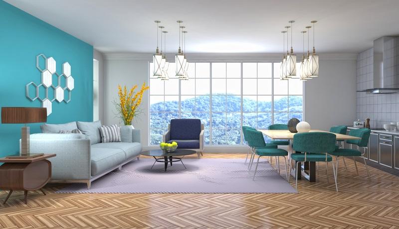 Das offene Wohnkonzept mit angeschlossener Küchenzeile lebt von der individuellen Beleuchtung mit den großen Hängelampen mit Lampenschirm. ( Foto: Shutterstock-_Interior Design )